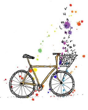 Bike - line drawing with letters and coloured paint splodges escaping from the basket